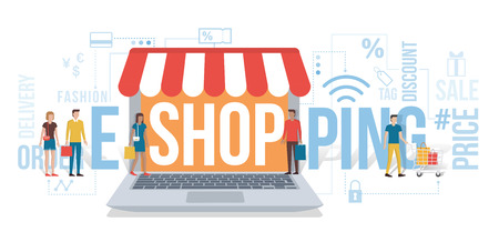 online purchase: People entering a virtual shop holding shopping bags: e-shopping and e-commerce concept with icons and words