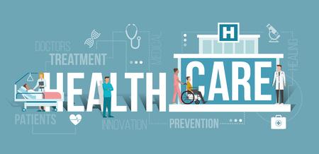 병원에서 근무하는 의사와 의료 전문가에 의해 도움을받는 환자 : 단어와 아이콘으로 의료 및 클리닉 개념 일러스트