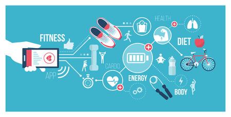 Concepto de fitness y tecnología: el usuario se conecta con un teléfono inteligente y utiliza aplicaciones deportivas y de cuidado de la salud Ilustración de vector