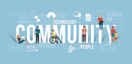 스마트 폰과 노트북을 사용하여 연결 사람들은 서로 다른하지만 그들은 함께 의사 소통과 같은 사회에서 내용을 공유하는 스톡 콘텐츠 - 71105584
