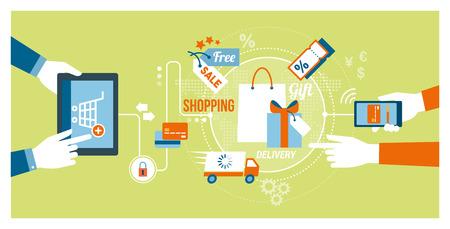 オンライン ショッピング、技術概念: ユーザー製品やタブレットやスマート フォンを使用してオンライン ギフトを購入