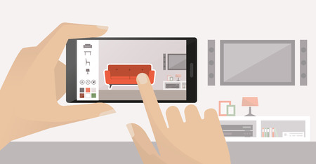 El hombre usando un teléfono inteligente para colocar mobiliario virtual en su habitación, la realidad aumentada y aplicaciones concepto Ilustración de vector