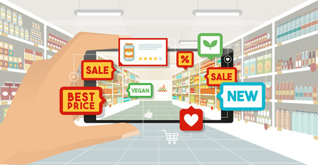 Man doing grocery shopping at the supermarket, he is viewing offers and augmented reality contents on his smartphone, store aisle and shelves on the background, subjective point of view 일러스트