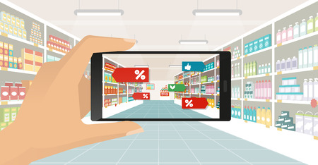 Man doing grocery shopping at the supermarket, he is viewing offers and augmented reality contents on his smartphone, store aisle and shelves on the background, subjective point of view Illustration