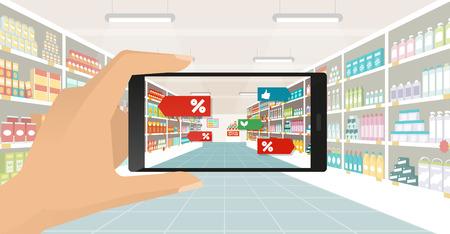 Uomo che fa la spesa al supermercato, è la visualizzazione di offerte e contenuti di realtà aumentata per il suo smartphone, negozio navata e mensole sullo sfondo, il punto di vista soggettivo Vettoriali