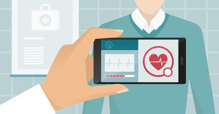 Doctor die een patiënt bij het ziekenhuis bezoekt, gebruikt hij een uitgebreide reality-app en controleert hartslag, gezondheidszorg en technologieconcept
