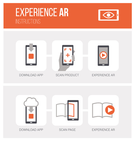 Augmented reality, how it works and step by step procedure: app download, product scan and ar experience, icons set