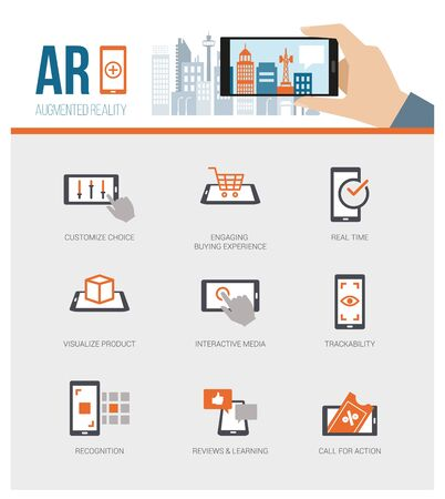 interactivity: Augmented reality added value for business and retail: product and customer experience, interactivity, trackability and customization Illustration