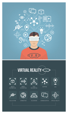 Man wearing virtual reality glasses headset and connecting to the cyberspace, vr icons set Illustration