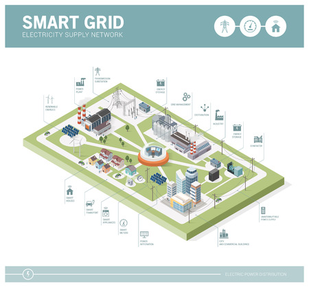 Smart grid network, power supply and renewable resources infographic with isometric buildings and icons Illustration