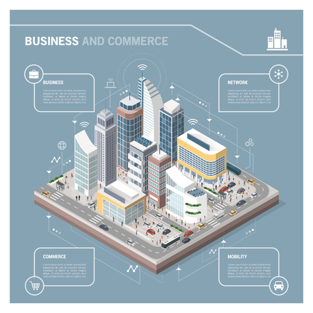 Isometric vector city with skyscrapers, people, streets and vehicles, commercial and business area infographic with icons Иллюстрация