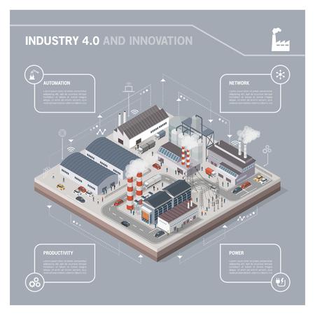 Parco industriale contemporaneo isometrico con fabbriche, centrali elettriche, lavoratori e trasporti: industria 4.0 infographic Vettoriali