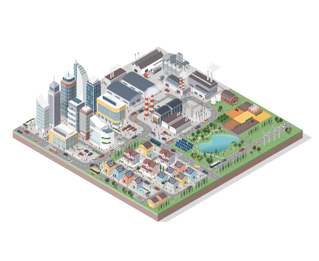 Vector isometric contemporary eco city with buildings, streets, people and vehicles: commercial area, residential district, industrial park, farm and natural area