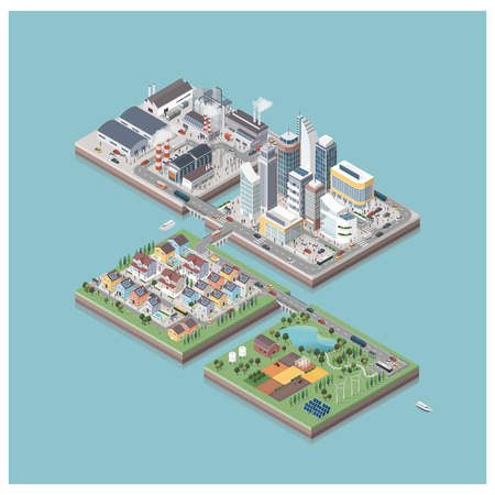 Vector isometric contemporary eco city isles with buildings, factories, people and streets: commercial area, residential district, industrial park, farm and natural area
