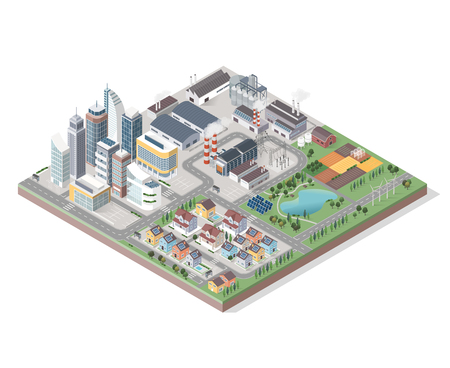 green buildings: Vector isometric contemporary green city with buildings, streets and plants