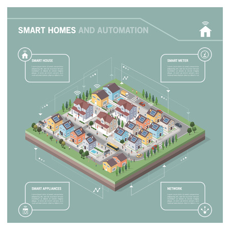 residential houses: Vector isometric residential area with houses, people, streets and vehicles: smart homes and connectivity concept infographic