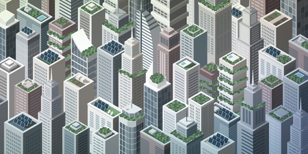 rooftop: Futuristic isometric green city with rooftop gardens and solar panels on skyscrapers, sustainability and innovation concept Illustration