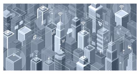 近代的な高層ビルとスマートシティ: 共有データとオンライン サービス、インターネットのネットワークに接続しています。