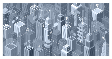 Smart city with modern skyscrapers: they are connecting to the internet network, sharing data and services online Illustration