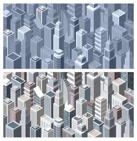 modern apartment: Contemporary city banners with modern isometric buildings, aerial view