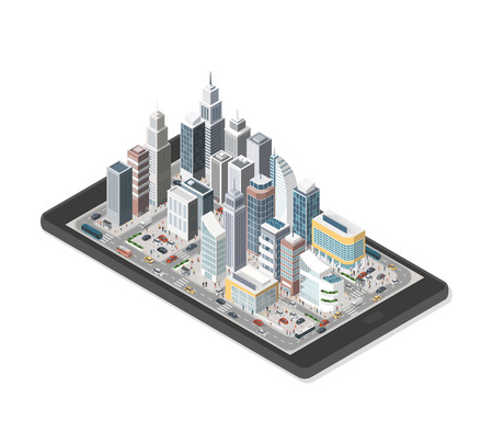 Contemporary isometric city on a digital tablet with people and vehicles on white layout.