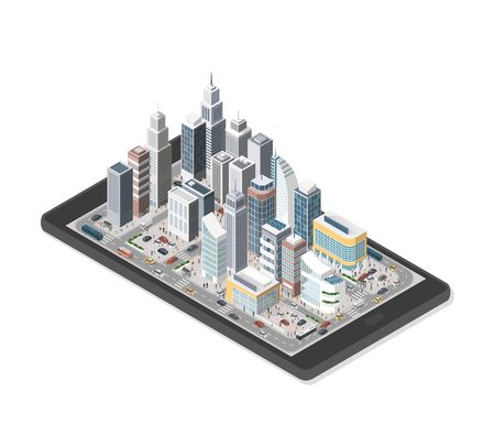 Contemporary isometric smart city on a digital tablet with skyscrapers, people and vehicles on white background Illustration
