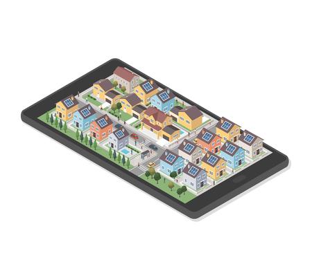 Woonwijk met slimme huizen, mensen en auto's op een smartphone, augmented reality en onroerend goed concept