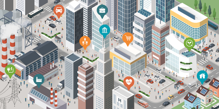Isometric smart city with skyscrapers, industrial area, residential area, people and vehicles; location pins on the top of the buildings