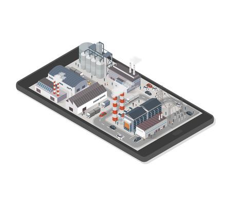 Area di parco industriale isometrica con fabbriche, centrale elettrica e persone su uno smartphone, industria e concetto di realtà aumentata Archivio Fotografico - 73966260