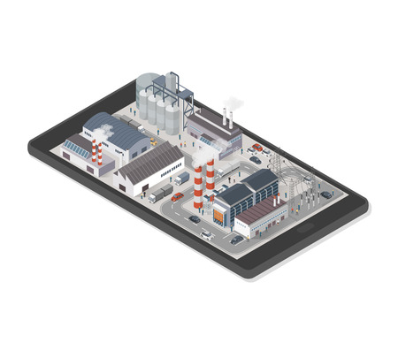 Isometric industrial park area with factories, power plant and people on a smartphone, industry and augmented reality concept Illustration