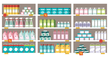 Household products, detergents and offers on the supermarket shelves 免版税图像 - 74236922