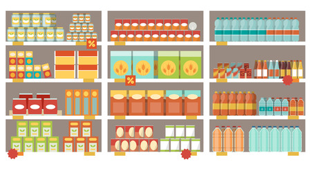 Grocery items on the supermarket shelves and offers, shopping and retail concept Illustration