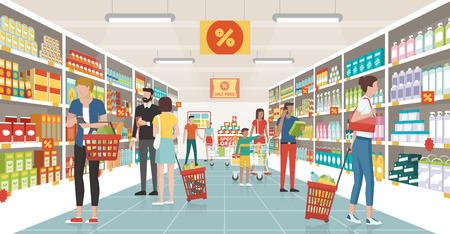 La gente compra en el supermercado, que están eligiendo productos en los estantes y empujando carros o cestas de la compra Foto de archivo - 74236924