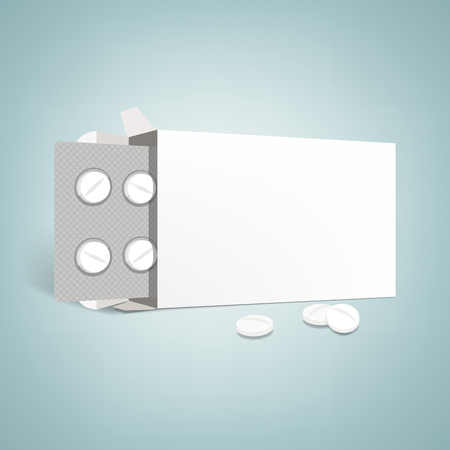 antibiotic: Pharmaceutical packaging advertisement: open drugs box with blister and pills, blank label Illustration