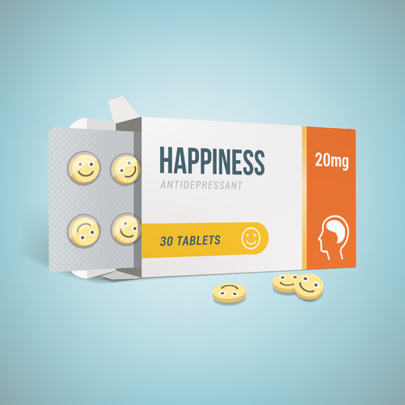 Antidepressants open drug box with smiley pills, depression and health concept
