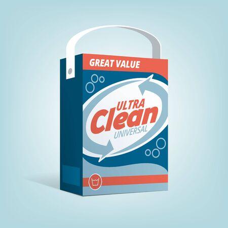 consumerism: Washing powder box advertisement, vintage packaging and consumerism concept Illustration