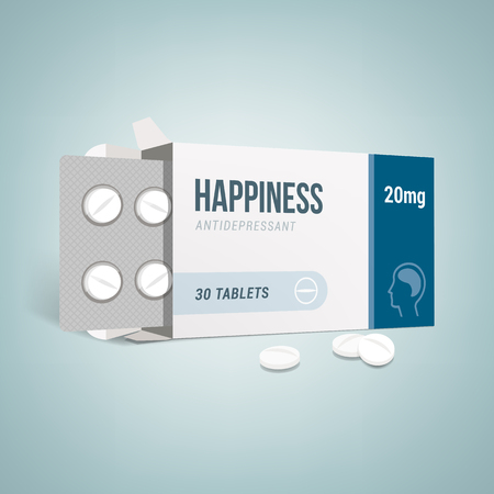 box open: Antidepressants open drug box with pills, depression and anxiety concept Illustration