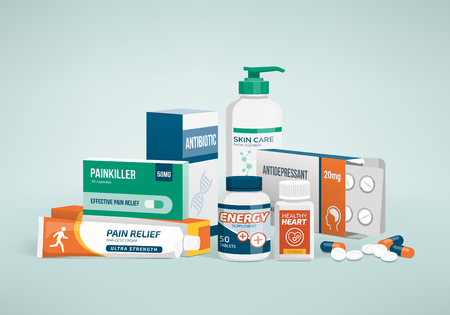 healthcare and medicine: Healthcare, medicine and drug types, pharmaceutical packaging Illustration