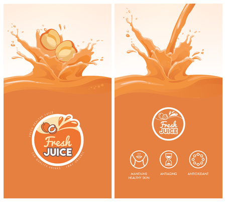 Drink menu with healthy apricot juice splash, fruit, icons and fresh juice badge Illustration