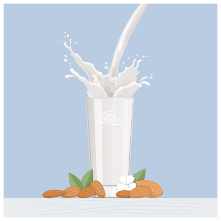 spill: Sweet almond vegan milk pouring into a glass with almond kernels and flower, healthy diet and nutrition concept
