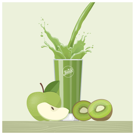 Green apple and kiwi juice pouring into a glass, healthy detox eating concept Illustration