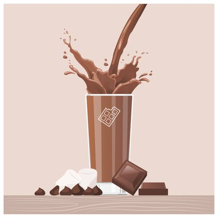 Tasty chocolate pouring into a glass with chocolate squares and marshmallows, delicious treat