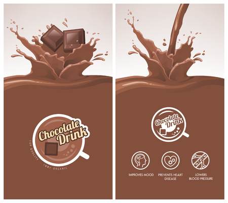 Hot chocolate drink with splash menu, squares of chocolate falling, icons and badge Illustration