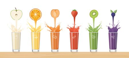 Fresh healthy juice pouring from tasty fruits into glasses and composing a rainbow, healthy drinks and variety concept Illustration
