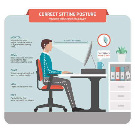 Correct sitting at desk posture ergonomics: office worker using a computer and improving his posture 版權商用圖片 - 75835715
