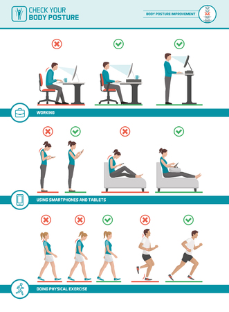 Body ergonomics infographic: improve your posture when working at desk, using mobile devices, walking and running