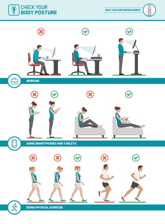 Cuerpo ergonomía infografía: mejorar su postura cuando se trabaja en el escritorio, utilizando dispositivos móviles, caminar y correr Ilustración de vector