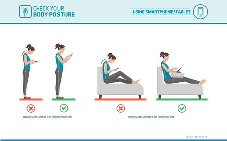 Ergonomía de los teléfonos inteligentes y tablets: cómo utilizar correctamente los dispositivos móviles cuando está de pie y sentado, la corrección de la postura