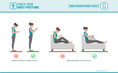 Smartphone and tablet ergonomics: how to use mobile devices correctly when standing and sitting, posture correction Banco de Imagens - 75835714