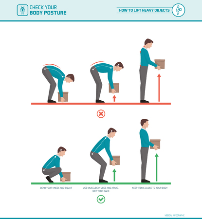 Proper lifting technique and body ergonomics: how to lift heavy objects safely Stock Illustratie